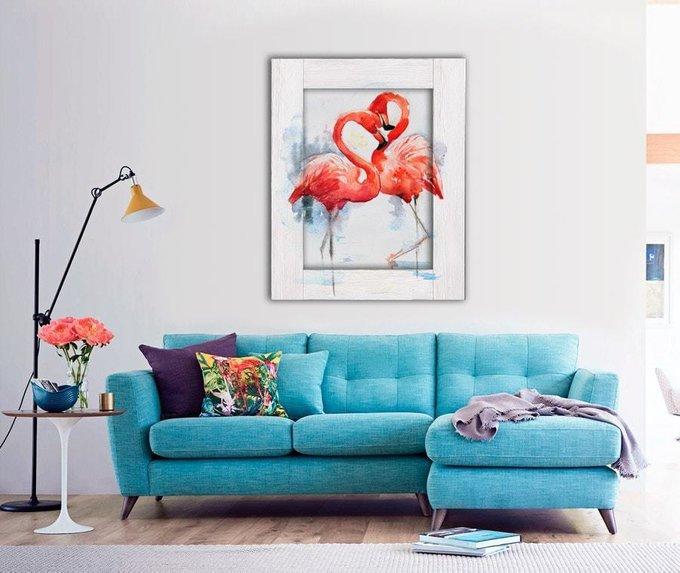 Картина с арт рамой Два фламинго 45х55