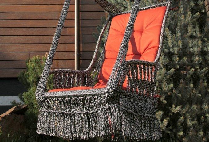 Подвесное кресло-качели Инка с подушкой бежево-коричневое