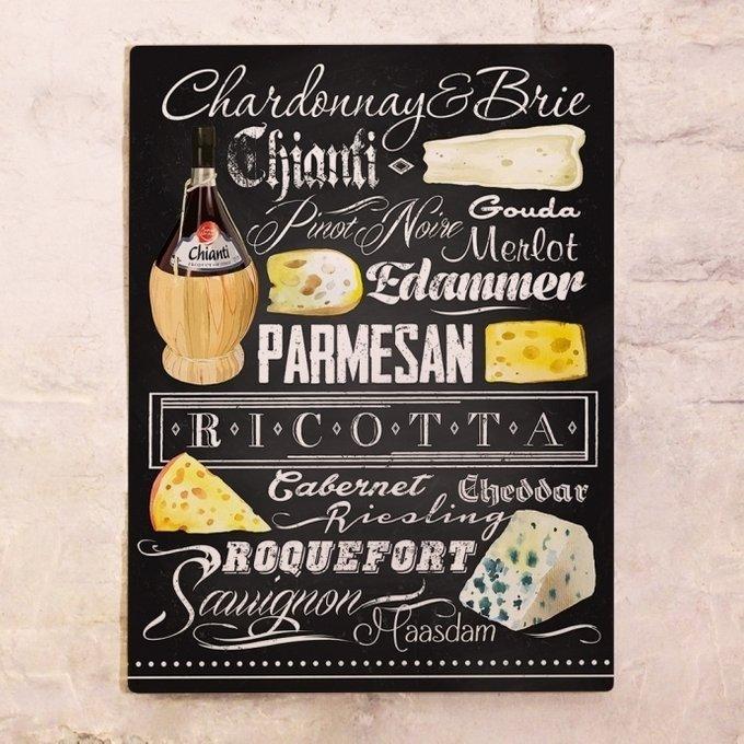 Металлический плакат Вино и сыр