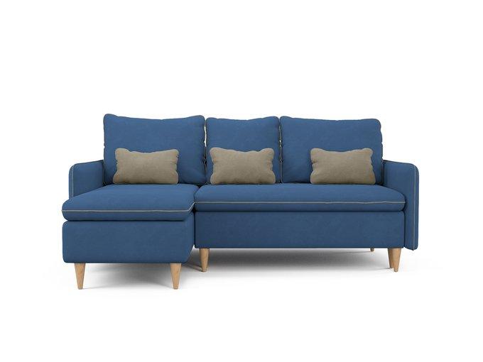 Угловой диван-кровать левый Ron синего цвета