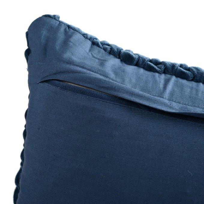 Подушка декоративная стеганая Essential из хлопкового бархата темно-синего цвета