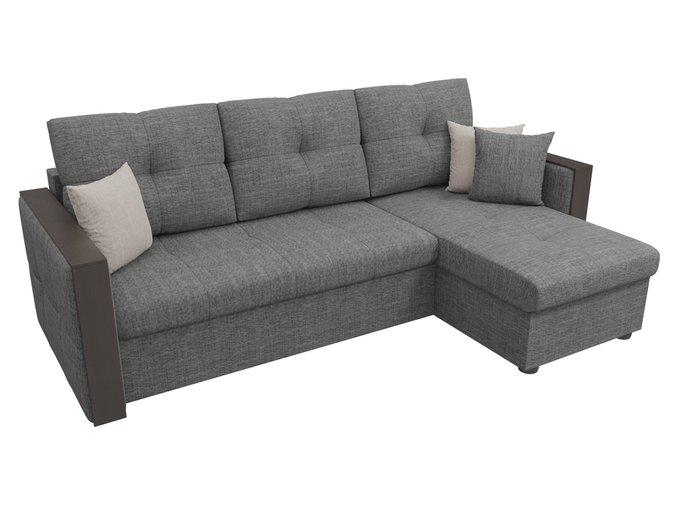 Угловой диван-кровать Валенсия серого цвета
