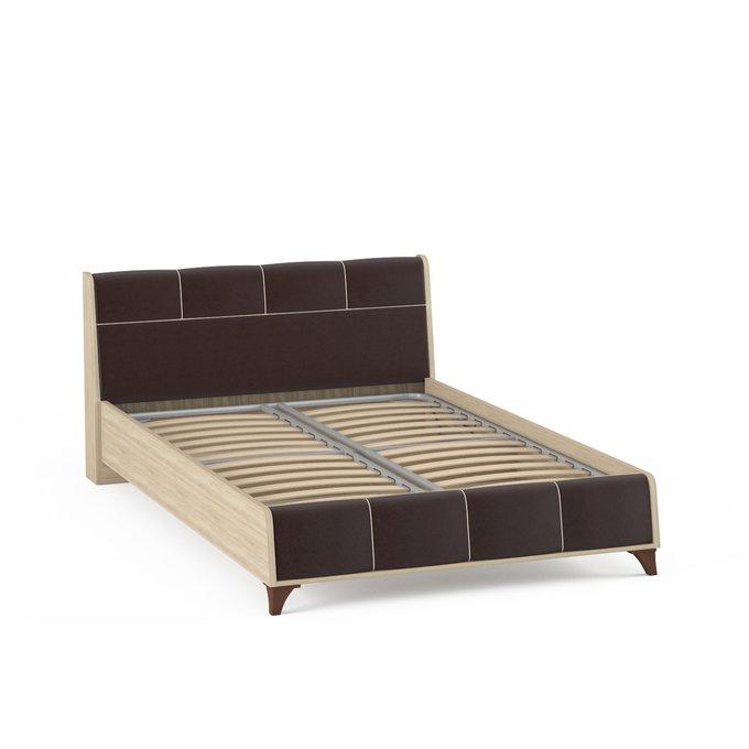 Кровать Келли с подъемным ортопедическим основанием цвета дуб сонома/иск.кожа 140х200