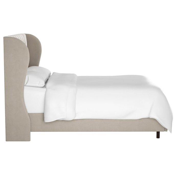 Кровать Reed Wingback Ash Velvet бежевого цвета 160х200
