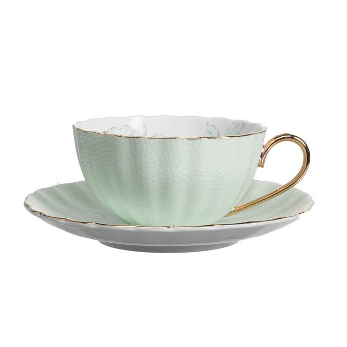 Чайная пара с цветами Arista Зелёная