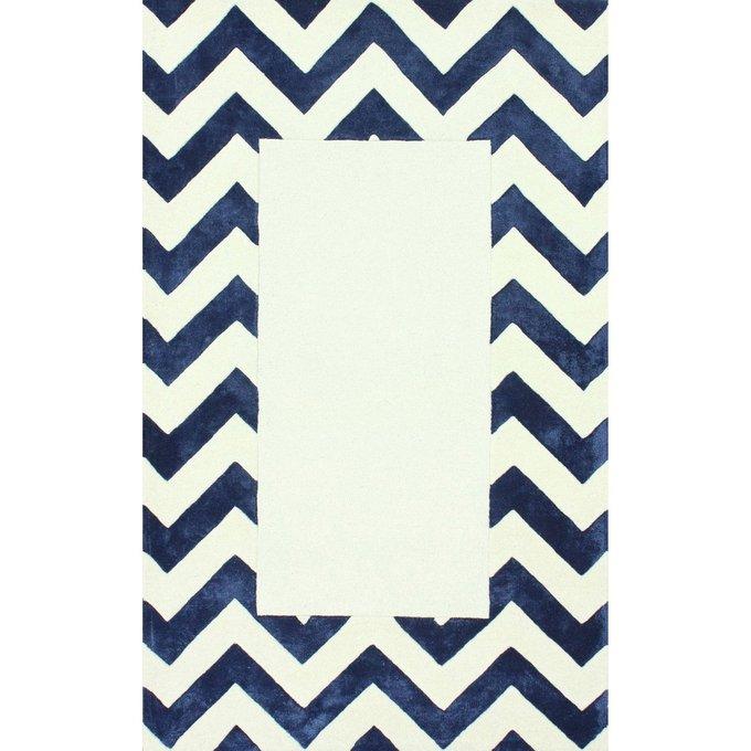 Ковер Zig-zag bordered бело-синего цвета 120х180