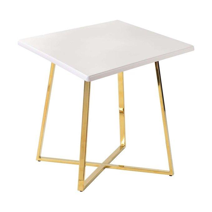 Обеденный стол Haku Gold с белой столешницей