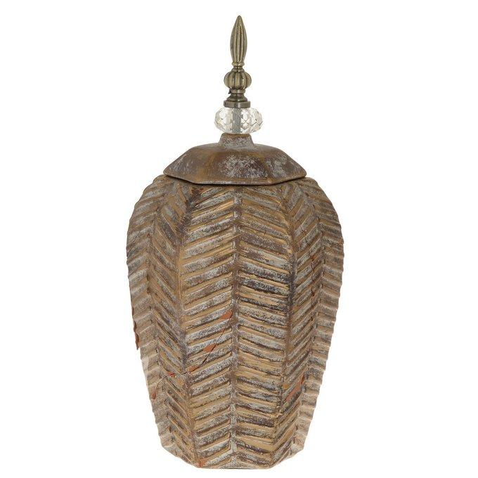 Керамическая ваза с крышкой золотого цвета