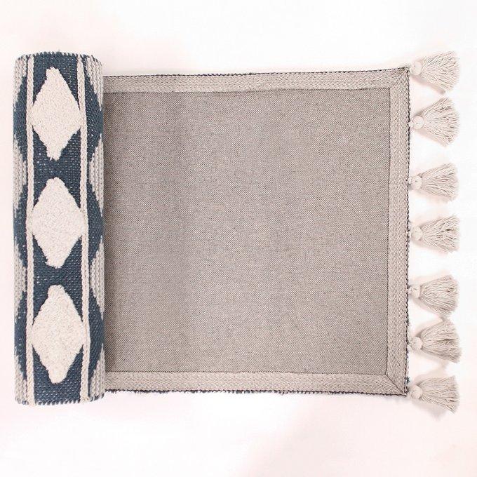 Ковер из хлопка синего цвета с геометрическим принтом 160х70
