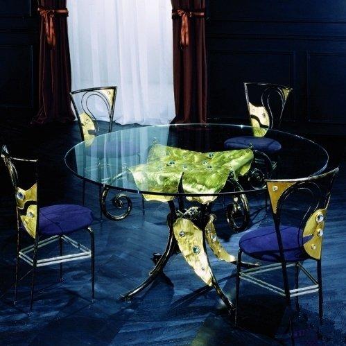 Стол MM Lampadari Enrico de Girardi Fercrepa Tavolo ручной ковки с декором фольгированием