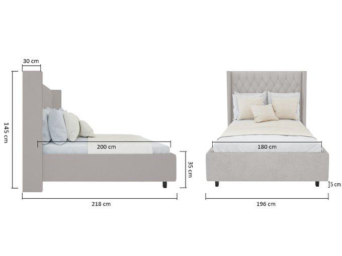 Кровать Wing-2 Велюр Бежевый 180x200