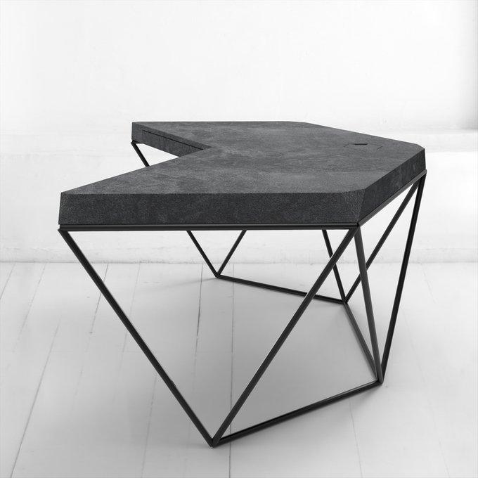 Рабочий стол Гексагон из микроцемента в черном цвете