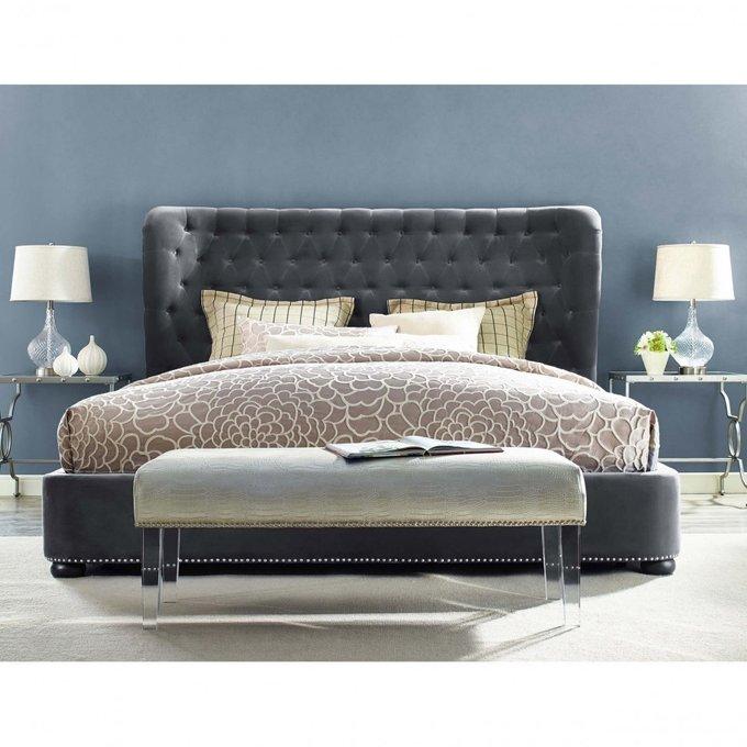 Кровать Brussel 160х200 серого цвета