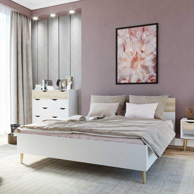 Кровать Oslo 180х200 с изголовьем цвета дуб