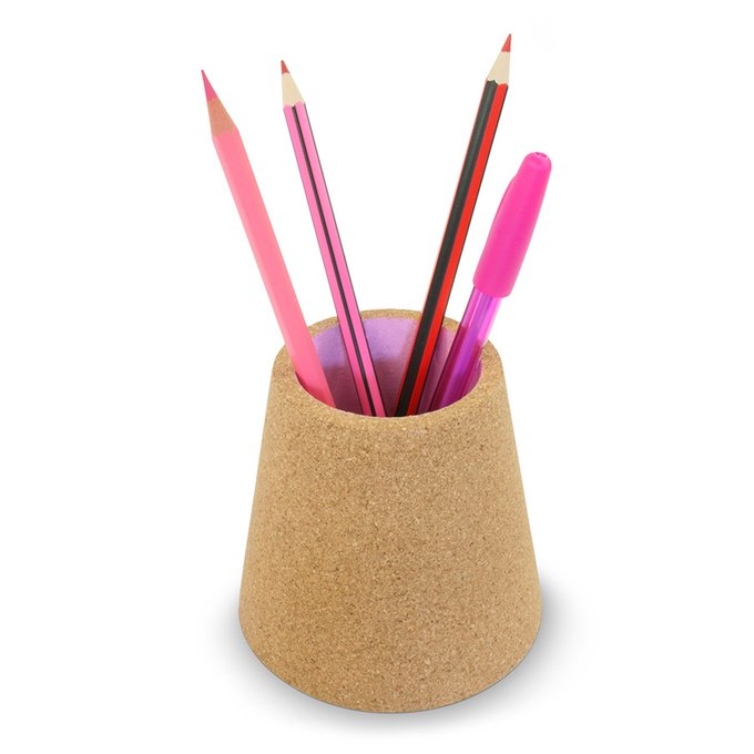 Стакан для ручек из пробки розового цвета