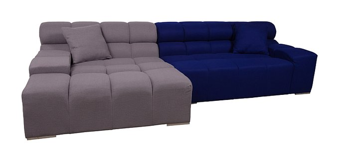 Диван Tufty-Time Sofa серо-синяя шерсть, коричневый
