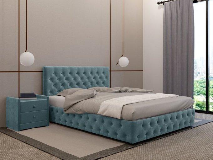 Кровать Кардинал цвета морской волны 140х200 с подъемным механизмом