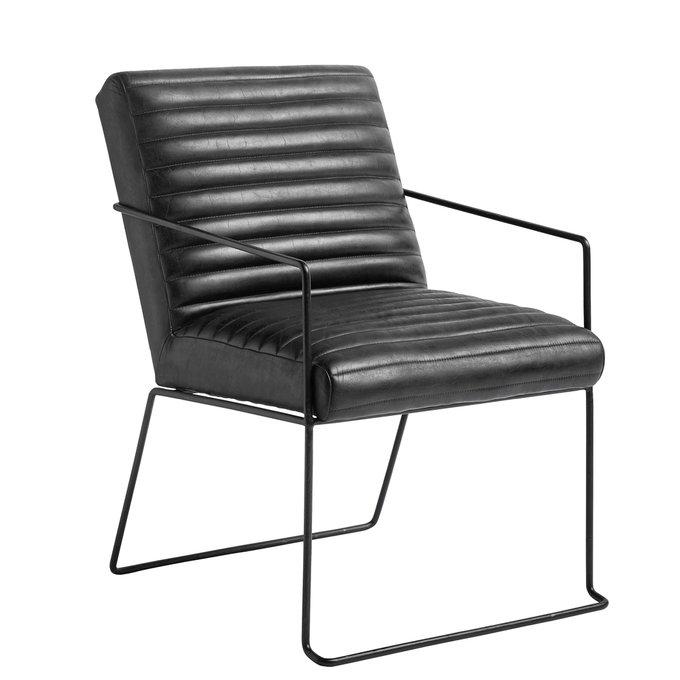 Кресло в черной коже из буйвола