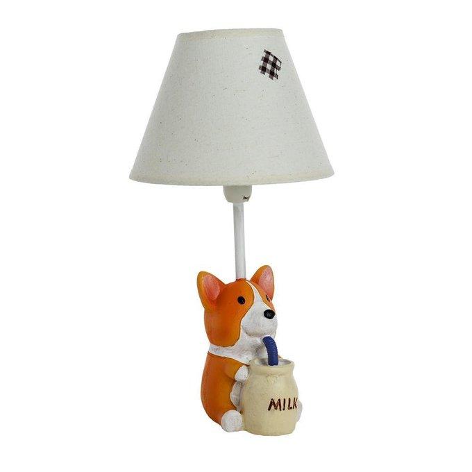 Детская настольная лампа Собачка с молоком