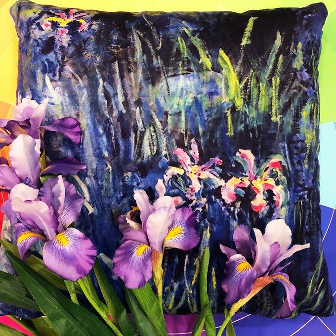 Декоративная арт подушка Ирисы Моне