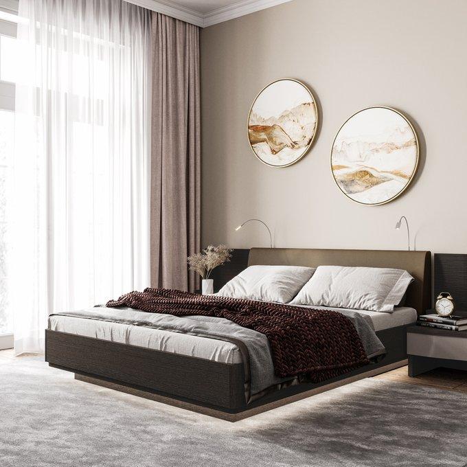 Кровать Элеонора 160х200 с изголовьем серо-бежевого цвета и двумя светильниками