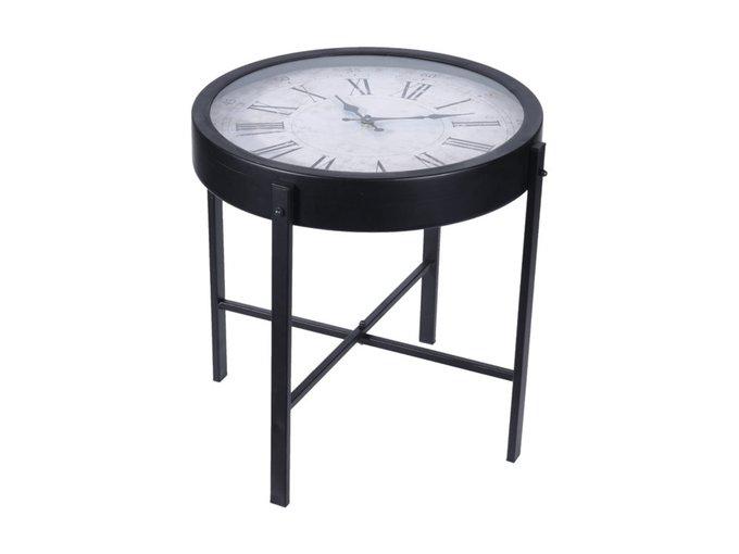 Столик Часы из металла и стекла