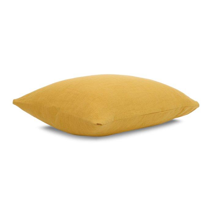 Наволочка изо льна горчичного цвета