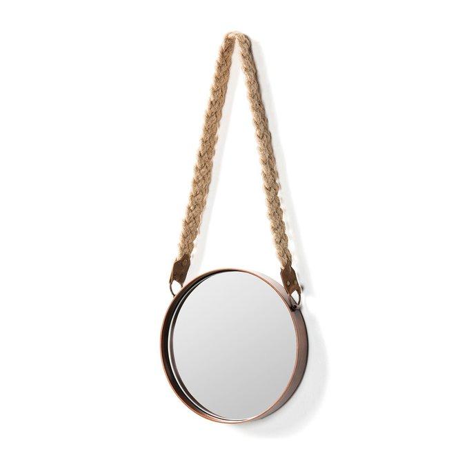 Настенное зеркало Stiel с плетеной кожаной ручкой