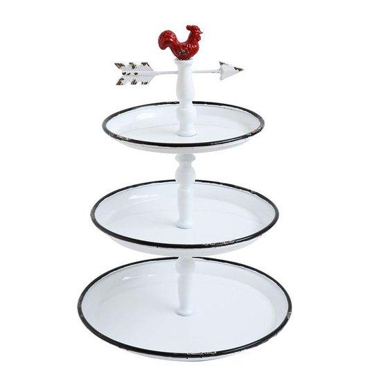 Декоративный трехуровневый поднос Rooster белого цвета
