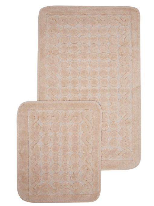 Набор из двух ковриков для ванной из хлопка бежевого цвета