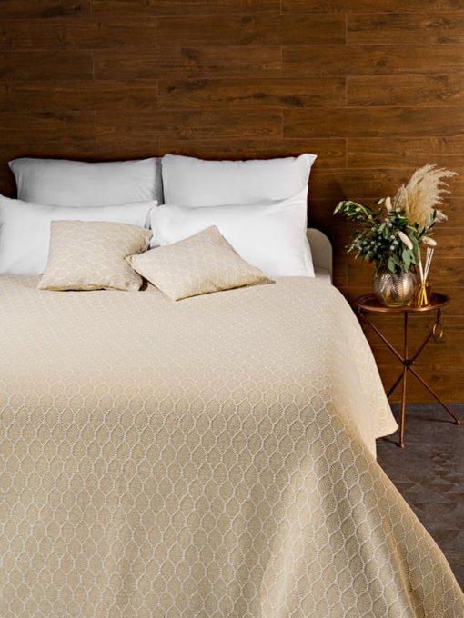 Трикотажное покрывало Ponza beige 210х230 бежевого цвета