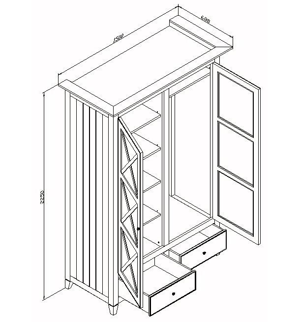 Шкаф платяной с ящиками средний La Mer