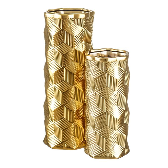 Керамическая ваза золотого цвета