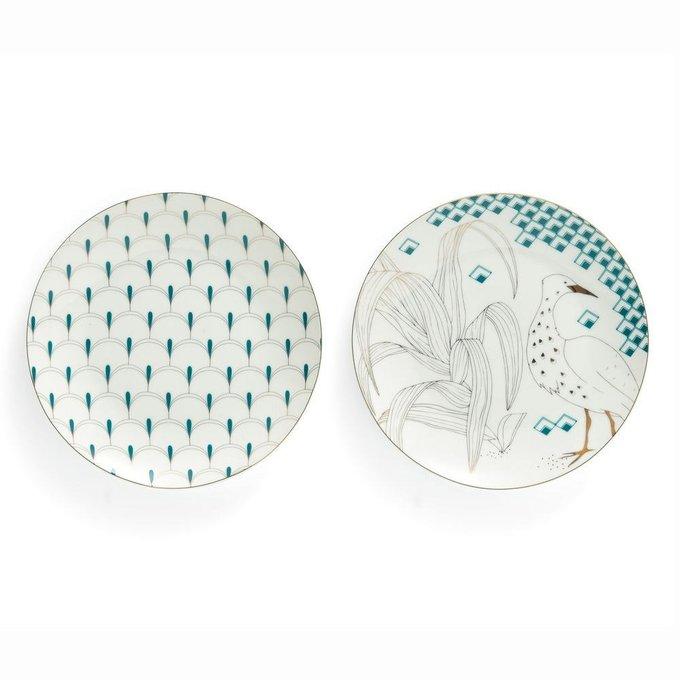 Набор из четырех фарфоровых тарелок Grues