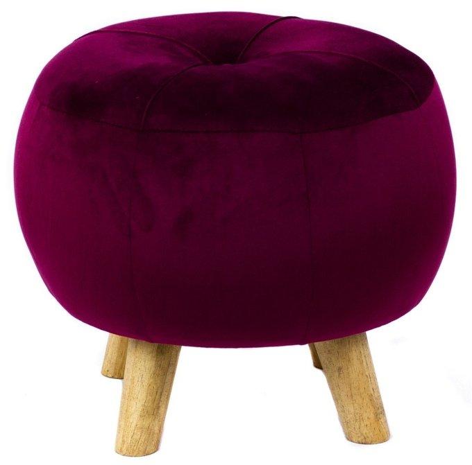 Пуф в обивке из велюра бордового цвета