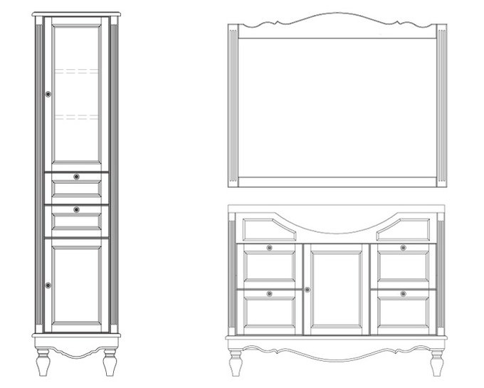 Шкаф-пенал для ванной Снежный прованс белого цвета