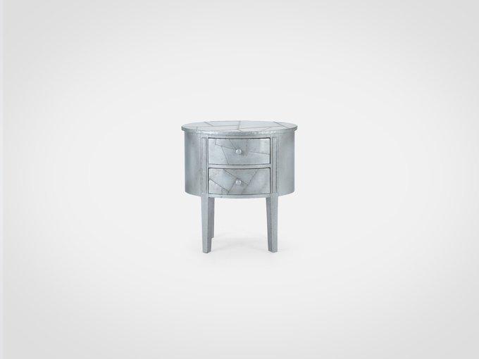 Тумба овальной формы, декорирована покрытием из металла  70x67x47 см