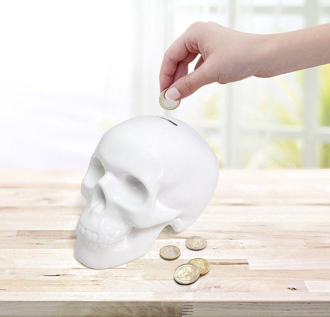 Копилка керамическая Balvi skully белая