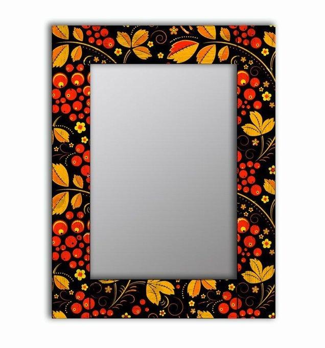 Настенное зеркало Хохлома в раме из массива сосны 55х55