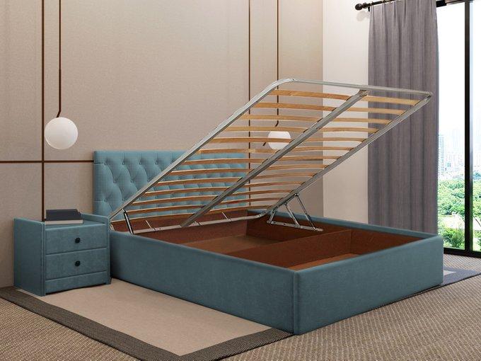 Кровать Фрейлина 160х200 цвета морской волны с подъемным механизмом