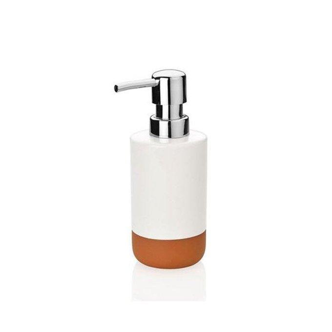 Диспенсер для жидкого мыла из бело-коричневой керамики
