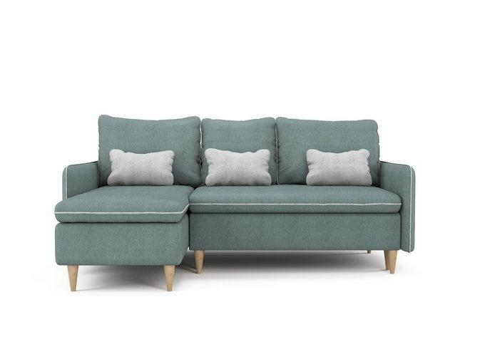 Угловой раскладной диван Ron левый мятного цвета