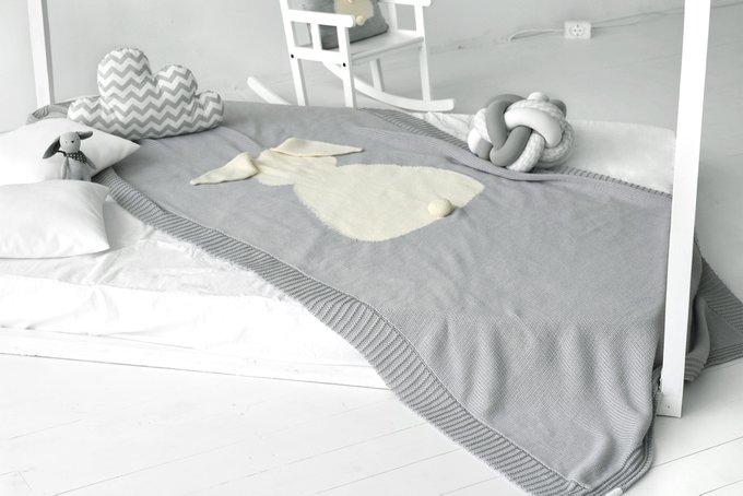 Плед Зайка 115х190 светло-серый меланж+белый