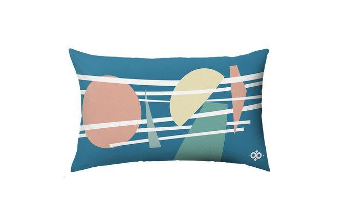 Подушка дизайнерская WOODI Geometry (цвет синий)