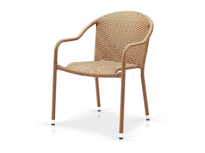 Кресло плетеное из искусственного ротанга бежевого цвета