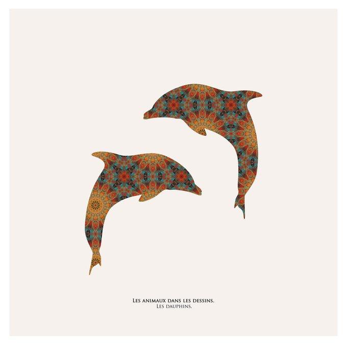 Картина (репродукция, постер): Дельфины в узоре