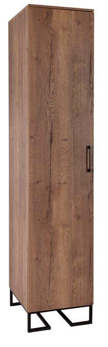 Шкаф одностворчатый с полками Loft коричневого цвета