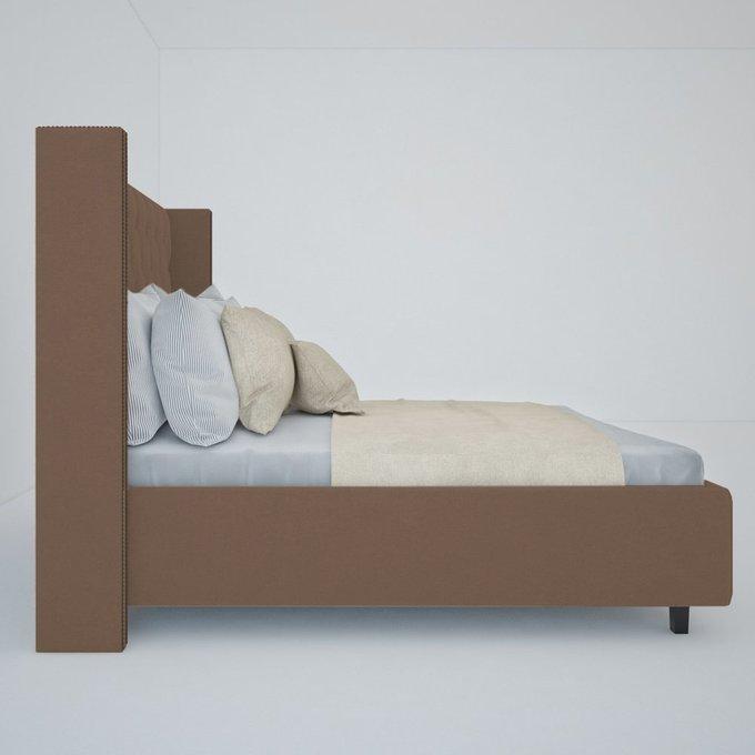 """Кровать с декоративными гвоздиками """"Wing"""" Велюр Серо-коричневый 140x200"""