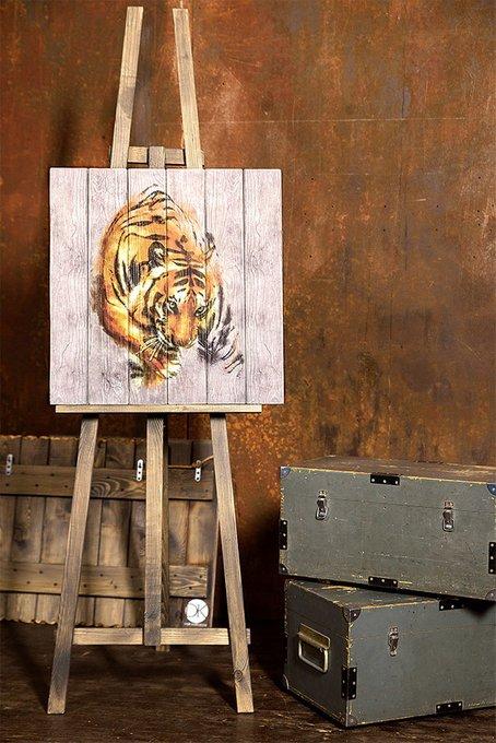 Картина на дереве Крадущийся тигр 60х60 см