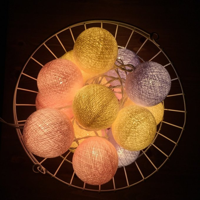 Тайская гирлянда желто-розово-фиолетовая